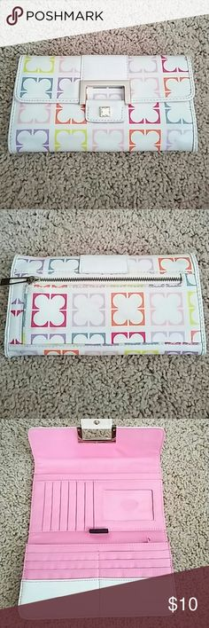 Liz Claiborne Wallet Nice wallet from LC. Had many card slots and two slots for change and one for cash. Some dirty spots from use but no holes or tears in the fabric Liz Claiborne Bags Wallets