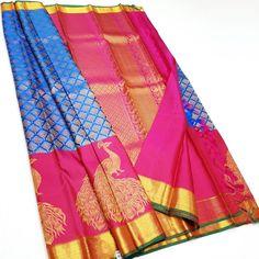 Sky Blue Banarasi Handloom Georgette Silk Sarees WEAVING Bridal Gift Occasional Festive Wear Wedding Sari with UnStitched Running Blouse