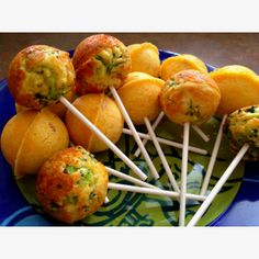 Savory cake pops!! Cornbread, bacon, cheddar cheese and broccoli goodness!!