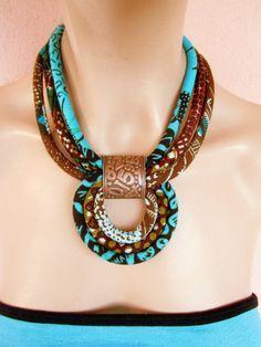 Collar de la turquesa / de largo collar de tela por nad205 en Etsy