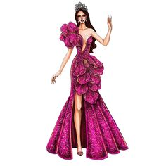 View more beautiful gowns by browsing Pageant Planet's dress gallery! Dress Design Sketches, Fashion Design Sketchbook, Fashion Design Portfolio, Fashion Design Drawings, Fashion Sketches, Fashion Drawing Dresses, Fashion Illustration Dresses, Planet Dresses, Vintage Vogue Fashion