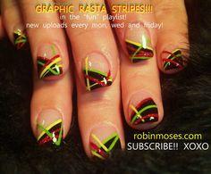 easy rasta inspired abstract nail art