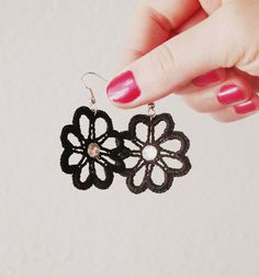 Black Crocheted Earrings with Rhinestone Attached  Royal by Fr33na, $10.00