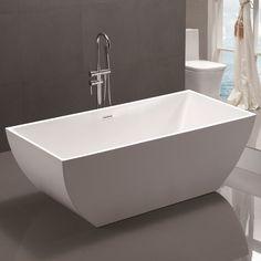 "Vanity Art 59"" x 30"" Freestanding Soaking Bathtub & Reviews | Wayfair Jacuzzi Bathtub, Bathtub Decor, Bathroom Furniture, Concrete Bathtub, Furniture Decor, Best Bathtubs, Soaking Bathtubs, Home Design, Built In Bathtub"