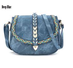 New Ladies Casual Cross Body Handbag Simple  Leather Shoulder Messenger Bag Denim Women Embroidery Bag by Argyrostore on Etsy