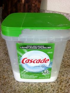 Dishwasher Detergent    Ingredients:  1 cup borax  1 cup washing soda  White vinegar    Directions:        Mix together the borax and washing soda and store in a plastic container with a lid.  I used an old dishwasher capsules container:  2 T. per load and white vinegar for rinsing agent.