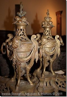 Pair Antique Louis XIV Bronze Andirons from Inessa Stewart's Antiques