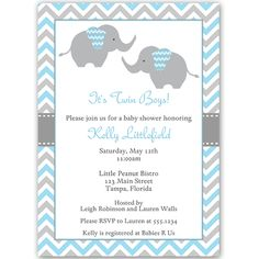 Invite Guests To Your Twin Boys Baby Shower With This Blue And Gray Chevron Striped
