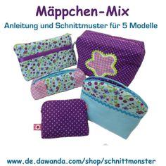 """Nähanleitungen Taschen - """"Mäppchen-Mix"""" Schnitt und Anleitung ... - ein Designerstück von Schnittmonster bei DaWanda"""