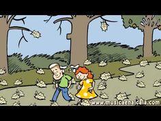 """Desde hacía semanas, el sol ya no calentaba como en los calurosos días de verano. Además, la brisa del viento se paseaba agitando las copas de los árboles y la música de las hojas chocando unas con otras se dejaba escuchar por cada rincón. Ya no se veían flores nuevas y las que aún quedaban, empezaban a marchitar... Cuento de Eva Alonso basado en el tercer movimiento de """"El Otoño"""" de Vivaldi. http://www.musicaeduca.es/"""