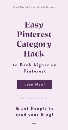 Pinterest Categories are actually relevant for the Pinterest Algorithm and can help you grow your Blog Subscriber and grow your Blog Traffic. This is an easy hack and great blogging tips you can implement today to make your Pinterest category and Pinterest Boards rank higher. Give Pinterest the information they need to understand your pins. #pinterestmarketing #pinterestips #pinterestalgorithm #bloggingtips Pinterest App, Pinterest Board, Small Business Marketing, Business Tips, Pinterest Categories, Pinterest For Business, Instagram Tips, Board Ideas, Understanding Yourself