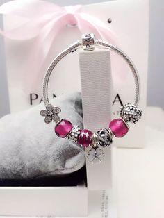 50% OFF!!! $219 Pandora Charm Bracelet Pink White. Hot Sale!!! SKU: CB01871 - PANDORA Bracelet Ideas