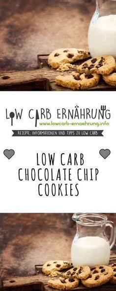 Low Carb Rezept für leckere Chocolate Chip Cookies mit wenig Kohlenhydraten und ohne Zucker. Zuckerfreie Low Carb Schokokekse - einfach und schnell zum Nachbacken. Perfekt zum Abnehmen.
