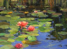 katherine stats artist | Kathryn Stats, Lilies on Water, oil, 36 x 48.