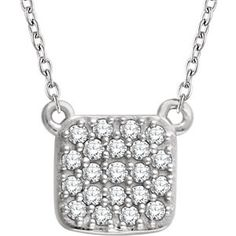 Amanda Rose 14kt White Gold Diamond Square Cluster Necklace on an 18 in. chain