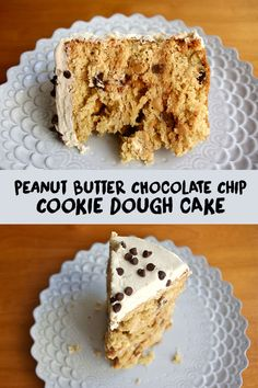 Peanut Butter Chocolate Chip Cookie Dough Cake - three layers of peanut butter cake with chocolate chips, covered in peanut butter cookie dough frosting, a peanut butter lover's fantasy #peanutbutter #chocolatechip #cookiedough #cake | www.thebatterthickens.com