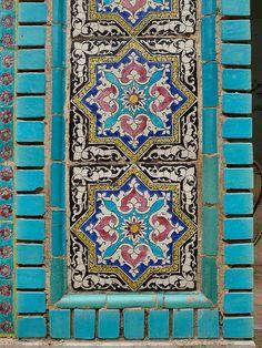 Ceramic tiles decorating a wall of the Tekyeh Mo'aven ol Molk, Qajar  era.Taken at Kermanshah, Iran.