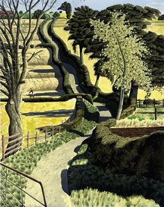 """lawrenceleemagnuson: """"Simon Palmer (UK b. 1956) Drawing across the Ocre ink, watercolour and gouache 79.4 x 69.2 cm """""""