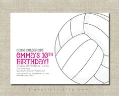 volleyball party invitation by FinePrints on Etsy, $15.00
