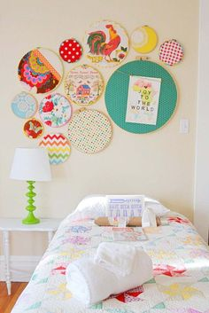 embroidery hoop wall art in a kid's room