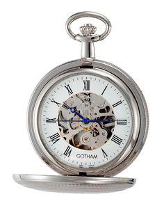 Gotham Men's Silver-Tone 17J  Mechanical Double Hunter Pocket Watch with Chain #Gotham