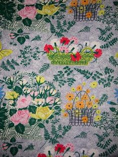 vintage 1952 old floral shabby cottage chic Flowers roses fabric Barkcloth