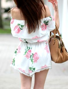 Such a cute off the shoulder romper from SheIn! Love this pretty floral print with cognac details.
