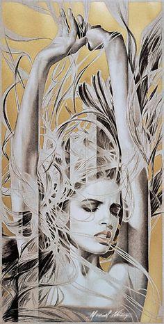 """Luna De Fuego"" - Manuel Nuñez, stone lithograph with gold foil {figurative fantasy art beautiful female head arms woman face portrait painting #loveart} manuelnunezart.com"