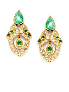 Amrapali 22K yellow gold and multicolor enamel geometric cutout earrings with multi-cut emerald and rose cut champagne diamond details.