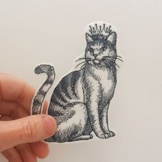 Iron on patch, cat in crown embroidered patch, patch for jeans,cat patch, patch for backpack,  grey tones on white.