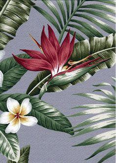 Maunawili Mauve Tropical Botanical Vintage Hawaiian Fabric Hawaiian Tropical Botanical Vintage Hawaiian Fabric Hawaiian Vintage Bird Of Paradise with Plumeria Flowers on upholstery or drapery fabric.