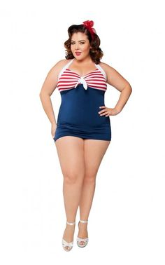 """Pinup Couture - Bettie """"Hello Sailor"""" Swimsuit - Plus Size   Pinup Girl Clothing   WANT!!!!!!!"""