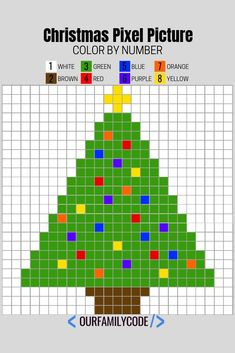 These Christmas Pixel Puzzles are a great way to introduce image representation on computers as well as work on number and color recognition. #colorbynumber #freeworksheet #christmasworksheets #stem #steam