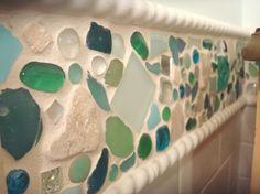 Sally Lee by the Sea | DIY SeaGlass Backsplash! | http://nauticalcottageblog.com