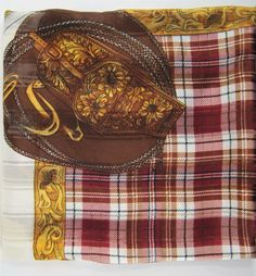 Women Scarf Western Motif Silk Beige Brown Black.  TTT 25 #Unbranded #Western