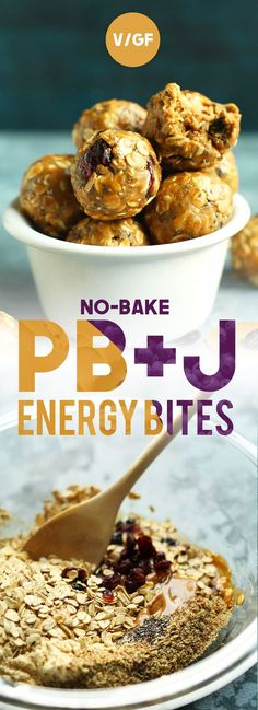 No-Bake PB & J Energy Bites! 7-ingredients, 15- minute energy bites made with wholesome ingredients and infused with the flavors of peanut butter & jelly! An easy, healthy snack!