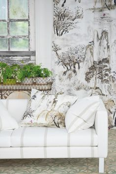 stencil idea - Designers Guild Jade Temple fabric. They've added some lovely warm neutrals to the collection this season. Come see them in person at Dean Warren.