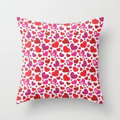 Heart Pattern 1 - Red, Pink, Purple Throw Pillow by pixaroma Red And Pink, Pink Purple, Purple Throw Pillows, Heart Patterns, Laptop Skin, Iphone Cases, Mugs, Stuff To Buy, Shirts