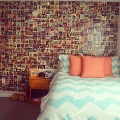 Photo wall, this would be perfect for a teenage girl's room to look back at her childhood, or see the good times she had with friends or family, and to remember stories.