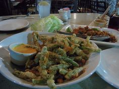 PF CHANGS fried green beans. OH MY YUMMY they are fabulous..and I could bathe in the sauce.