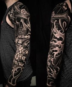Japanese tattoo sleeve by @daniel.ekdahl.    #japaneseink #japanesetattoo #irezumi #tebori #bngink #blackandgrey #blackandgreytattoo #cooltattoo #largetattoo #armtattoo #tattoosleeve #skulltattoo #samuraitattoo #flowertattoo #newschool #newschooltattoo #blackwork #blackink #blacktattoo #wavetattoo #naturetattoo