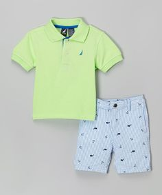 Look at this Nautica Pale Green Polo & Nautical Shorts - Infant, Toddler & Boys on #zulily today!