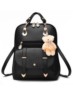 Backpacks Fashion PU Black Gold White Red Rose Sky Blue Lilac Dark Blue Medium Bags