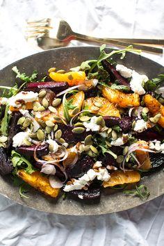 Balsamic Roasted Beets, Sweet Orange & Chèvre Salad with Pumpkin Seeds via Flourishing Foodie