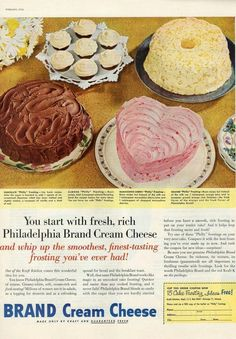 Retro Recipes, Vintage Recipes, Ice Cream Candy, Vintage Scrapbook, Vintage Ads, Vintage Food, Retro Ads, Frozen Desserts, Cream Cheese Frosting