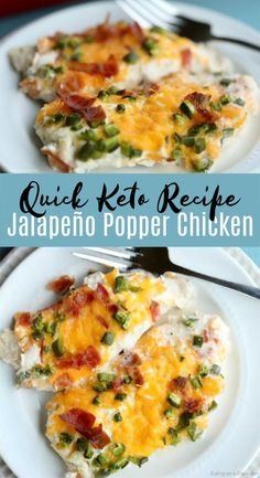 abendessen low carb KETO JALAPEÑO POPPER CHICKEN RECIPE Are you looking for a quick and easy keto recipe? This low carb jalapeño popper chicken with cream cheese and bacon can be prepped in as little as 10 minutes and tastes amazing! Ketogenic Recipes, Low Carb Recipes, Diet Recipes, Cooking Recipes, Ketogenic Diet, Lunch Recipes, Dessert Recipes, Delicious Recipes, Breakfast Recipes