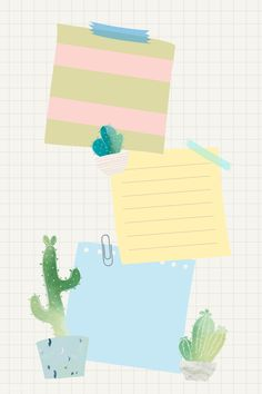 Blank paper with cactus design vector Cute Wallpaper Backgrounds, Colorful Wallpaper, Cute Wallpapers, Iphone Wallpaper, Instagram Frame Template, Note Doodles, Framed Wallpaper, Plant Illustration, Note Paper