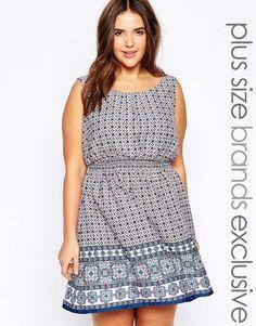 Image 1 ofNew Look Inspire Tile Print Skater Dress