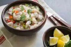 Ceviche chileno | En Mi Cocina Hoy Cilantro, Chilean Recipes, Chilean Food, European Cuisine, Spanish Cuisine, Food Names, Appetisers, Seafood, Yummy Food