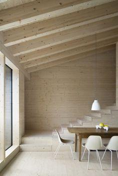 #interiors #alpine #modern #cabin #dining #wood #paneling #simple #minimal